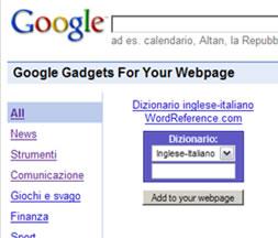 Google Gadgets per Pagine Web